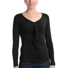 Apropos Molly Ruffled Knit Shirt - V-Neck, Long Sleeve (For Women) in Black - Closeouts