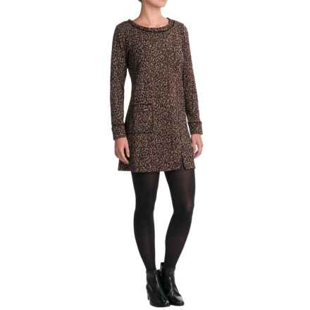 Apropos Pandora Feline Tunic Dress - Long Sleeve (For Women) in Nutmeg - Closeouts
