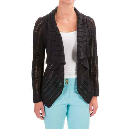 Apropos Roman Holiday Pointelle Sorrento Cardigan Sweater (For Women) in Black - Closeouts