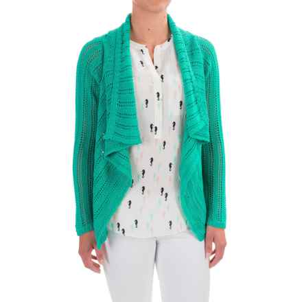 Apropos Roman Holiday Pointelle Sorrento Cardigan Sweater (For Women) in Jade - Closeouts