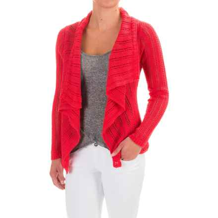 Apropos Roman Holiday Pointelle Sorrento Cardigan Sweater (For Women) in Tomato - Closeouts