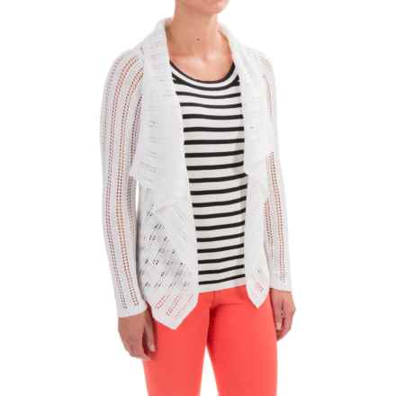 Apropos Roman Holiday Pointelle Sorrento Cardigan Sweater (For Women) in White - Closeouts