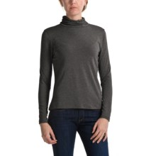 Apropos Ruched Jersey Turtleneck - Long Sleeve (For Women) in Charcoal - Closeouts