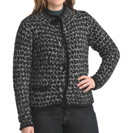 Apropos Tribecca Tweed Crop Sweater (For Women) in Black
