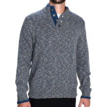 Aqua by Toscano Button Mock Neck Sweater - Wool Blend (For Men) in Steel Blue - Closeouts