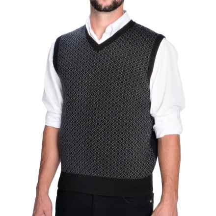 Aqua by Toscano Geometric Print Vest - Merino Wool (For Men) in Black - Closeouts