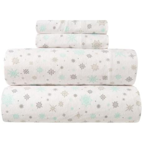 Image of Aqua-Grey Snowflake Flannel Sheet Set - King, Organic Cotton