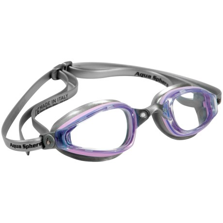 Aqua Sphere K180 Swim Goggles (For Women) in Clear/Pink/Silver