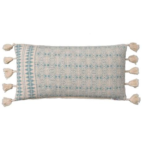 Image of Aqua Textured Tata Tassel Slub Throw Pillow - 14x26? Feathers