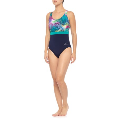 Image of Aquashape Color Block One-Piece Swimsuit - UPF 50+, Padded Cups (For Women)