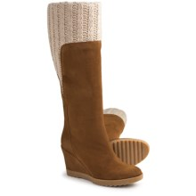 Aquatalia by Marvin K. Charm 3 Tall Suede Boots - Knit Collar (For Women) in Bark Suede - Closeouts