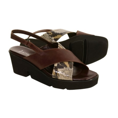 Aquatalia by Marvin K. Strut Sandals - Sling-Backs (For Women) in Brown Calf W/Python