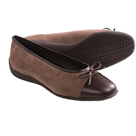 Ara Bella Ballet Shoes - Flats (For Women) in Walnut Suede/Brown Leather