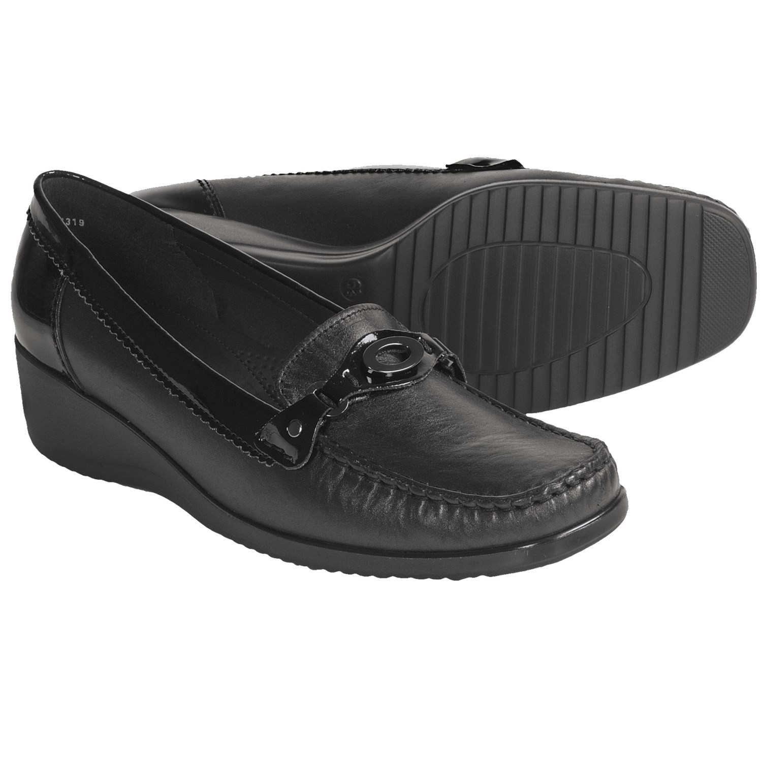LADIES BLACK FLAT LOAFERS SHOES WOMENS MOCCASIN SLIPPERS PUMPS SIZE 3 4 5 6 7 8 (UK 4 / EU 37, BLACK PATENT