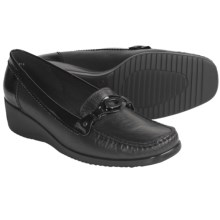 Ara Edna Leather Loafer Shoes - Wedge Heel (For Women) in Black - Closeouts