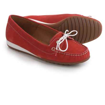 Ara Nele Boat Shoes - Suede, Slip-Ons (For Women) in Red Nubuck - Closeouts