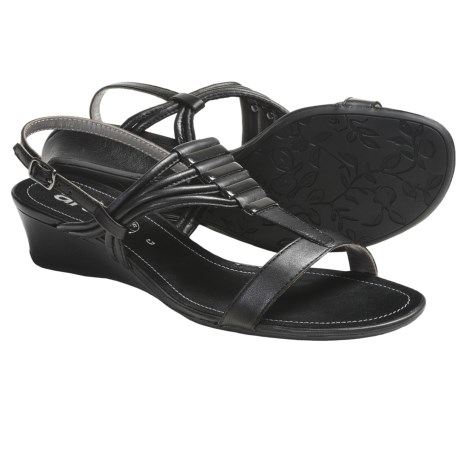 Ara Simone Wedge Sandals (For Women) in Black Leather