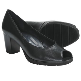Ara Steffi Peep-Toe Pumps (For Women) in Black Leather