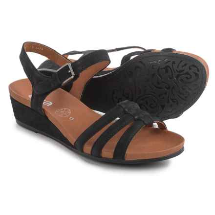 Ara Sunday Strappy Wedge Sandals - Nubuck (For Women) in Black Nubuck - Closeouts