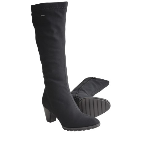 Ara Tegan Gore-Tex® Tall Boots - Waterproof, Side Zip (For Women) in Black Fabric