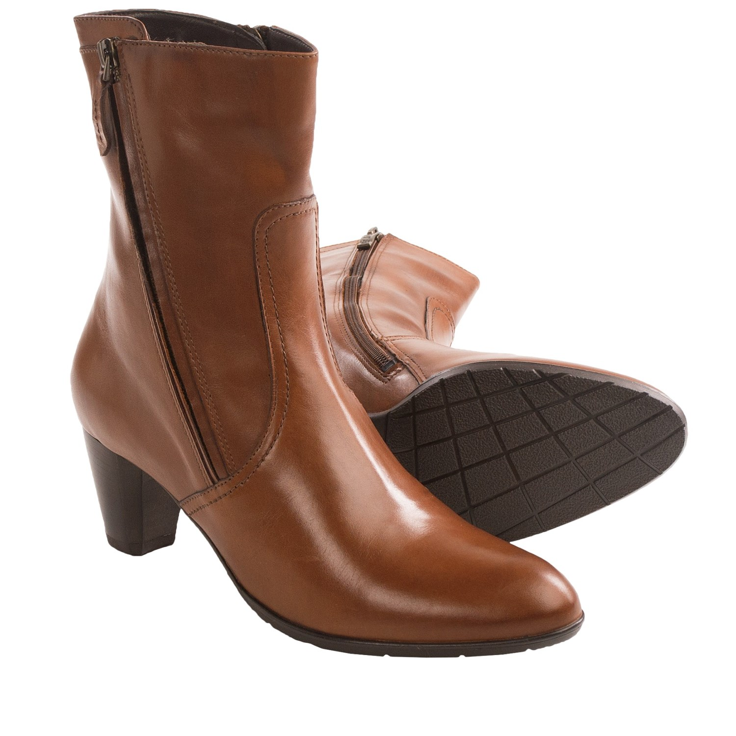 Light Brown Leather Boots Women (for women) in tan leather