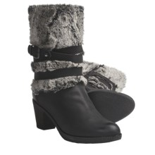Ara Trudy Boots - Leather-Faux Fur (For Women) in Black Leather/Grey Fur - Closeouts