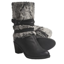 Ara Trudy Boots - Leather-Faux Fur (For Women) in Black Leather/Grey Fur