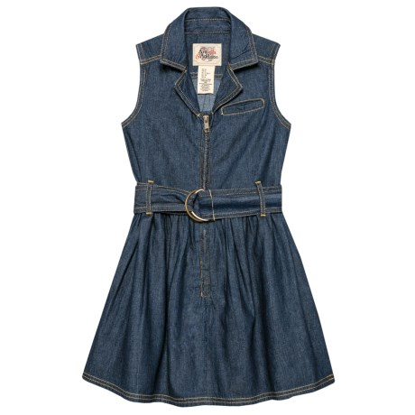 ARABELLA & ADDISON Belted Denim Dress- Sleeveless (For Little and Big Girls) in Dark Denim