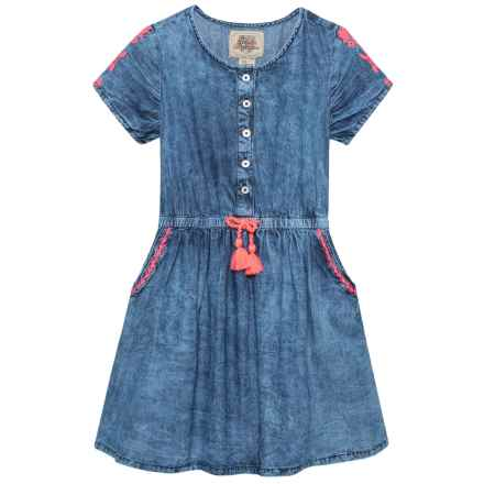 ARABELLA & ADDISON Embroidered Dress - Short Sleeve (For Little and Big Girls) in Denim - Closeouts