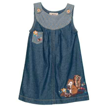 ARABELLA & ADDISON Embroidery Applique Denim Dress - Sleeveless (For Toddler and Little Girls) in Dark Denim - Closeouts