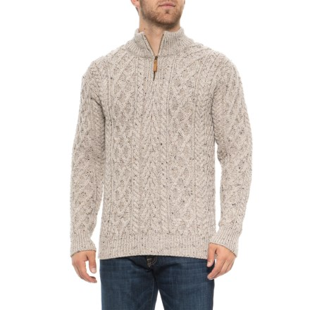 2bf025cd Aran Mor Made in Ireland Mock Neck Cardigan Sweater - Merino Wool, Zip Neck  (