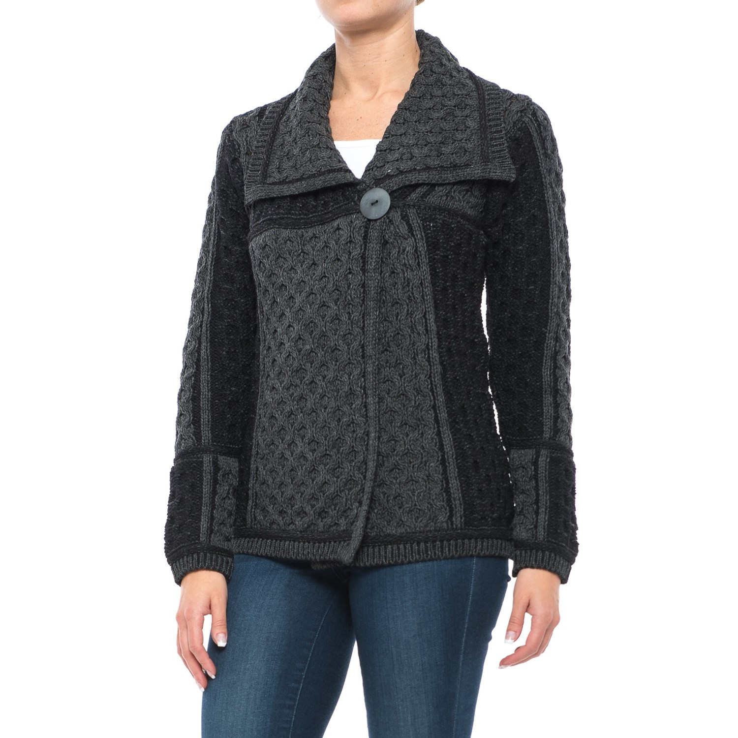 Aran Mor Short One-Button Cardigan Sweater (For Women) - Save 51%