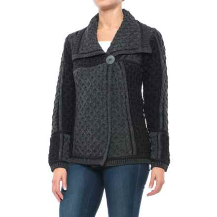 Aran Mor Short One-Button Cardigan Sweater - Merino Wool (For Women) in Black Charcoal Combo - Closeouts