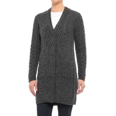 Aran Mor V-Neck Cardigan Sweater - Merino Wool (For Women) in Charcoal - Closeouts
