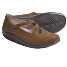 Aravon Lucie Mary Janes - Leather, Cross Strap (For Women) in Brown Nubuck - Closeouts