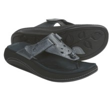 Aravon Robin Thong Sandals - Leather (For Women) in Black - Closeouts