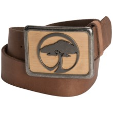 Arbor Bamboo Belt - Large Icon Buckle, Leather (For Men and Women) in Brown - Closeouts