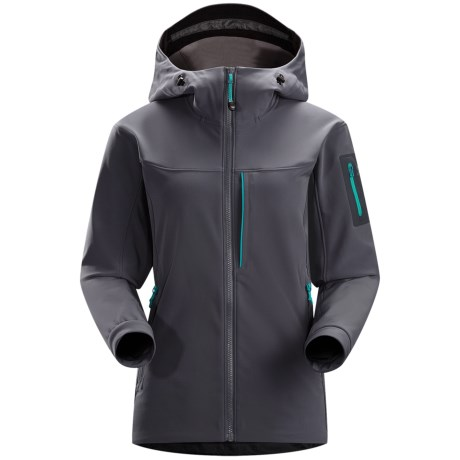 Arc'teryx Gamma MX Hooded Jacket - Soft Shell (For Women) in Heron
