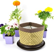 Arcadia Garden Products Silo Fabric Pot Planter and Saucer in Eva - Closeouts