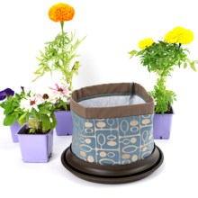 Arcadia Garden Products Silo Fabric Pot Planter and Saucer in Forest - Closeouts