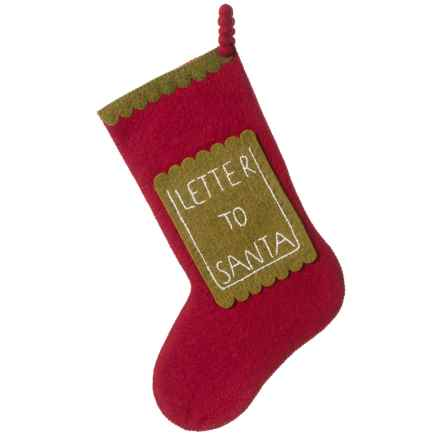 Arcadia Home Letter to Santa Stocking in Red/Green - Closeouts