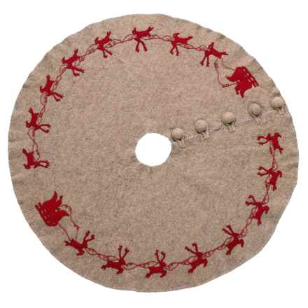 """Arcadia Home Red Reindeer Tree Skirt - 60"""" in Grey - Closeouts"""