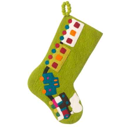 "Arcadia Home Toy Train Wool Stocking - 12x20"" in Lime Green - Closeouts"