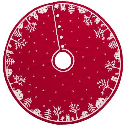 """Arcadia Home Village Scene Tree Skirt - 60"""" in Red - Closeouts"""