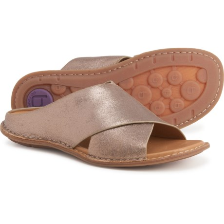 Arcola Slide Sandals - Leather (For Women) - GOLD (6 ) -  Bionica
