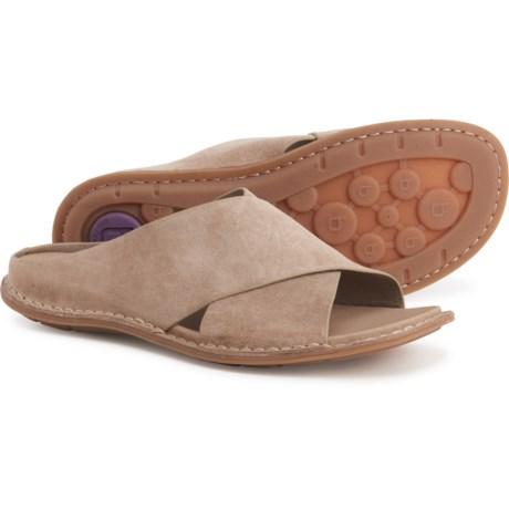 Arcola Slide Sandals - Suede (For Women) - LIGHT GREY SUEDE (6 ) -  Bionica