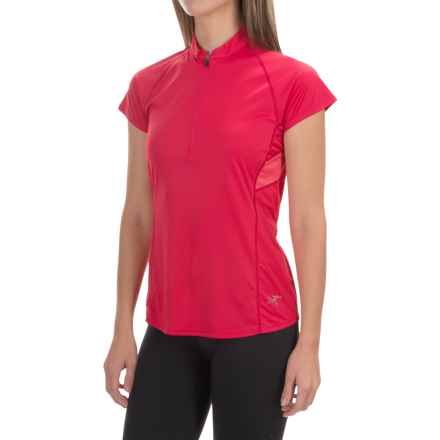 Arc'teryx Kapta Zip Neck Shirt - Short Sleeve (For Women) in Pink Tulip - Closeouts