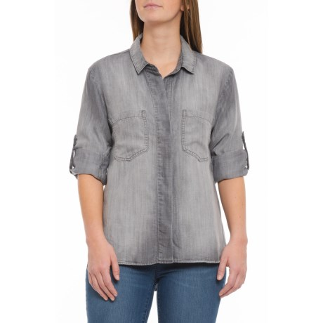 Image of Arctic Grey Split-Back TENCEL(R) Shirt - Long Sleeve (For Women)