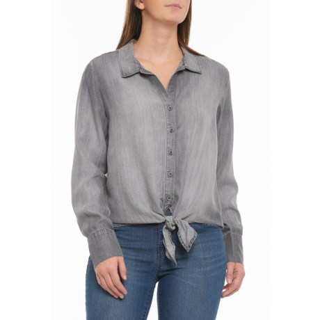 Image of Arctic Grey Tie-Front Shirt - Long Sleeve (For Women)