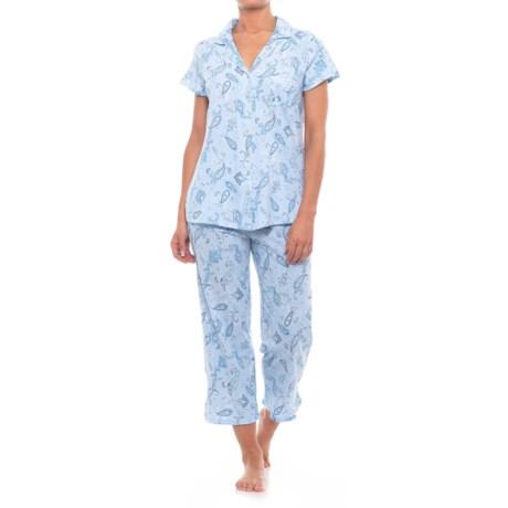 Aria Capri Pajamas - Short Sleeve (For Women) in Blue Multi